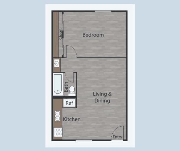 Floor Plan  A1 1 Bed 1 Bath Apartments in Mesh III at Mesh Properties, Austin, TX