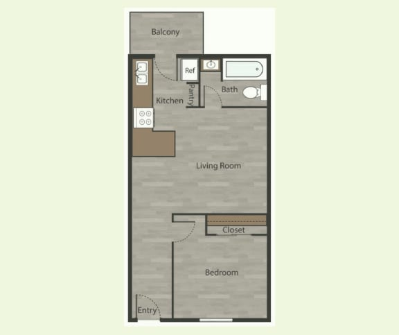Floor Plan  A1 1 Bed 1 Bath Apartments in Mesh I in 78741 at Mesh Properties, Texas