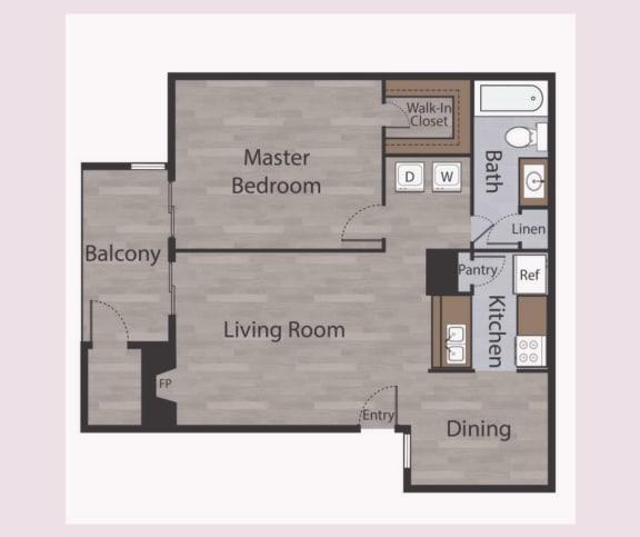 Floor Plan  A2 1 Bed 1 Bath Apartments in Mesh II at Mesh Properties, Austin, Texas