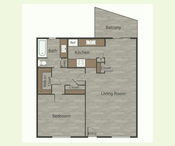 Floor Plan  A2 1 Bed 1 Bath Apartments in Mesh I at Mesh Properties, Texas, 78741