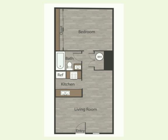 Floor Plan  A3 1 Bed 1 Bath Apartments in Mesh I at Mesh Properties, Austin, TX, 78741