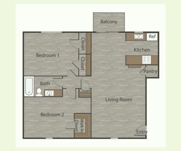 Floor Plan  B2 2 Bed 1 Bath Apartments in Mesh I at Mesh Properties, Austin, Texas