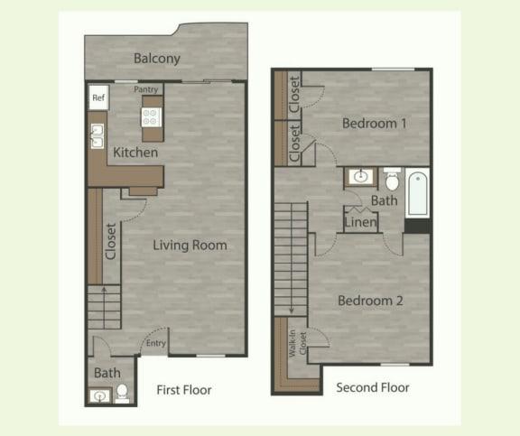 Floor Plan  B3 2 Bed 1 Bath Apartments in Mesh I at Mesh Properties, Austin