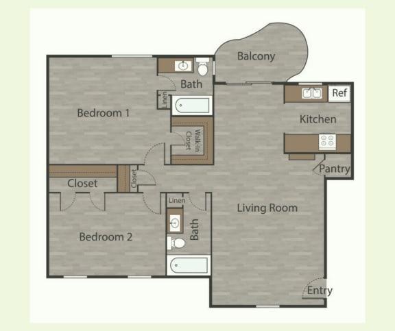 Floor Plan  B4 2 Bed 1 Bath Apartments in Mesh I at Mesh Properties, Texas