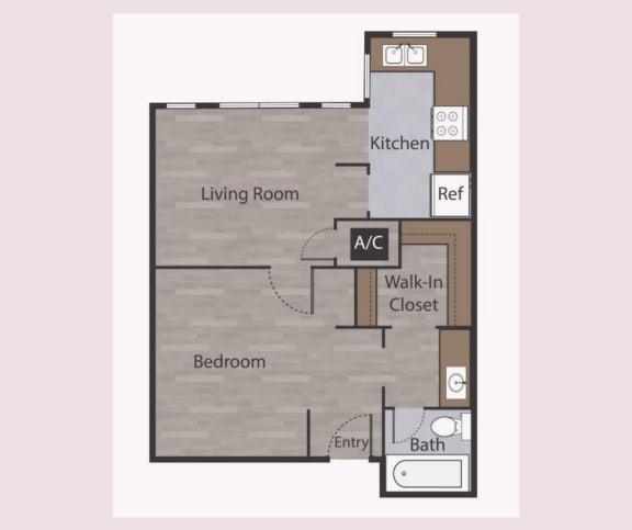 Floor Plan  E1 Studio Apartments in Mesh II at Mesh Properties, Austin, TX