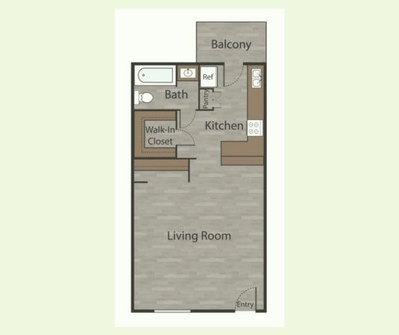 Floor Plan  E1 Studio Apartments in Mesh I at Mesh Properties, Austin
