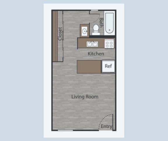 Floor Plan  E2 Studio Apartments in Mesh III at Mesh Properties, Austin, TX, 78741