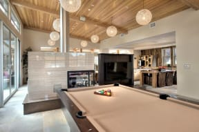 Santa Rosa Apartments-Annadel Apartments Game Room with Billiards Table and TV