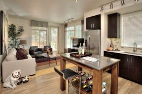 KItchen and living room  l Santa Rosa CA Apartments Annadel
