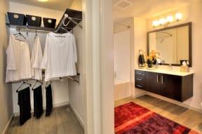 Closet and bath area l Annadel Apartments For Rent in Santa Rosa  95401