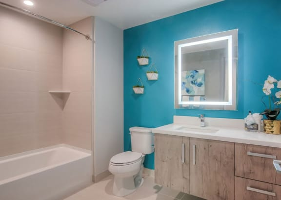 Luxury Lighted LED Vanity Mirrors for Bathrooms at The Mansfield at Miracle Mile