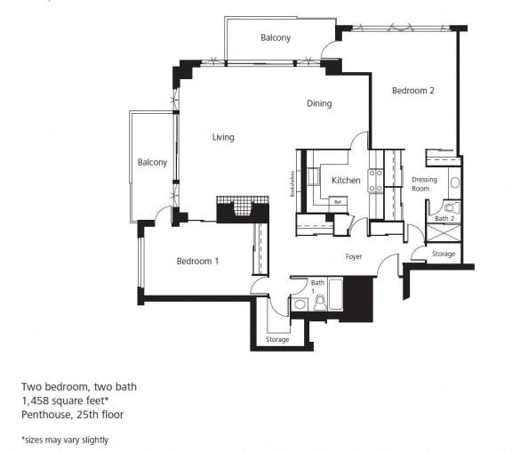 Floor Plan  2 bed 2 bath penthouse