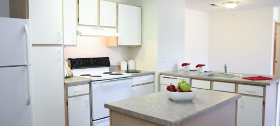 Spacious kitchen with island and plenty of cabinet space