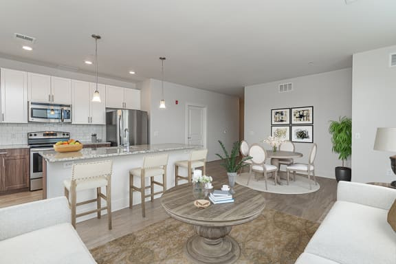 Gorgeous open layout in boutique Ardmore, PA apartment with spacious living area, dining room, and kitchen