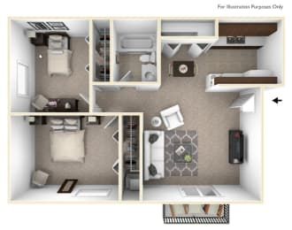 2 Bedroom 2 Bathroom Floor Plan at Sycamore Creek Apartments, Orion, MI, 48359