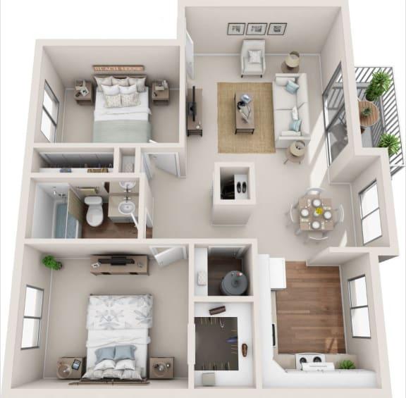 Floor Plan  Meadowbrook 2B/1B 3D Floor Plan