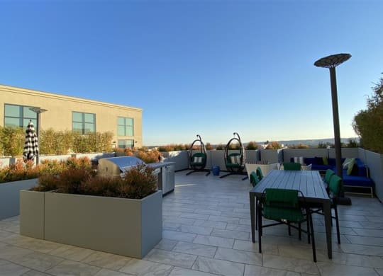 Rooftop Lounge With Fireplace at The Mansfield at Miracle Mile, Los Angeles, 90036