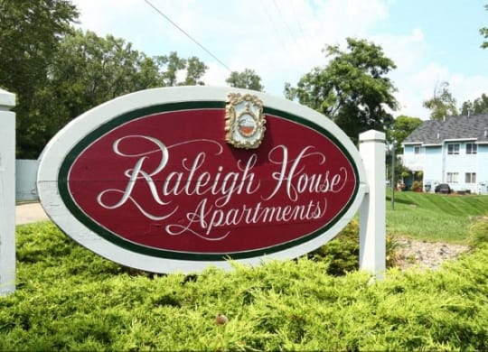 Signboard at Raleigh House Apartments, MRD Apartments, East Lansing, Michigan