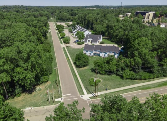 Aerial View Of Property With Surroundings at Raleigh House Apartments, MRD Apartments, East Lansing