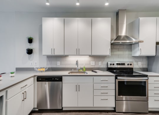 Kitchen with White Cabinetry and Stainless Steel Appliances