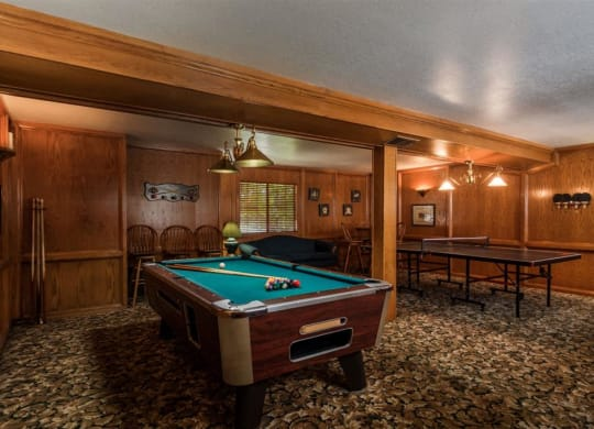 Billiards Table In Clubhouse at Oxford Park Apartments, Fresno, CA, 93720