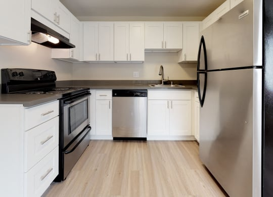 U-shaped kitchen with stainless steel oven, hood vent, dishwasher, sink, and fridge from left to right.