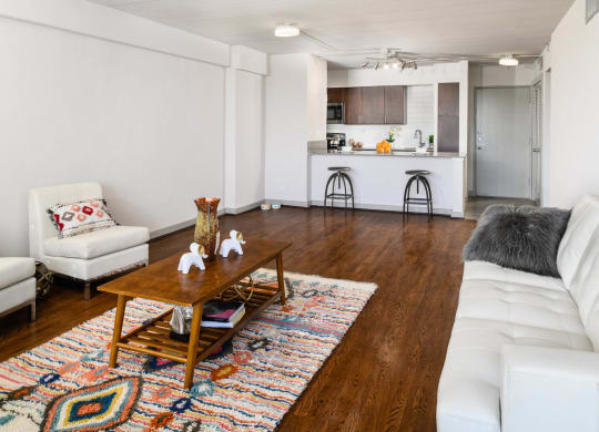 Living Room With Kitchen View at Memorial Towers Apartments, The Barvin Group, Houston, 77007