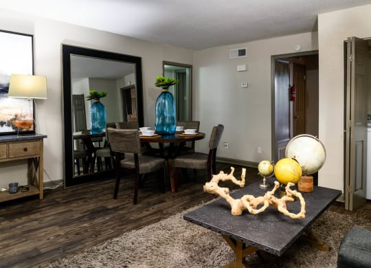 Living Room With Dining Area at Chateaux Dupre  Apartments, The Barvin Group, Houston, Texas