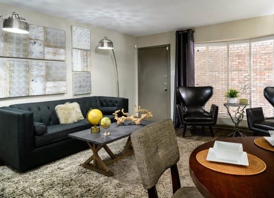 Modern Living Room at Chateaux Dupre Apartments, The Barvin Group, Houston, 77063