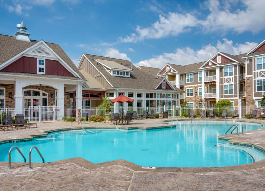 Pool at luxury apartments in Charlotte NC at Pavilion Village, Charlotte, 28262