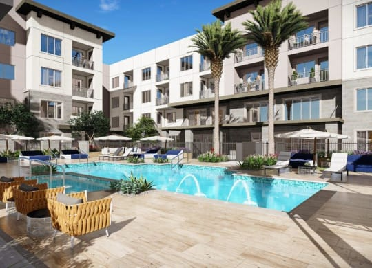 Swimming Pool With Relaxing Sundecks at Kalon Luxury Apartments, P.B. BELL Assets, Phoenix