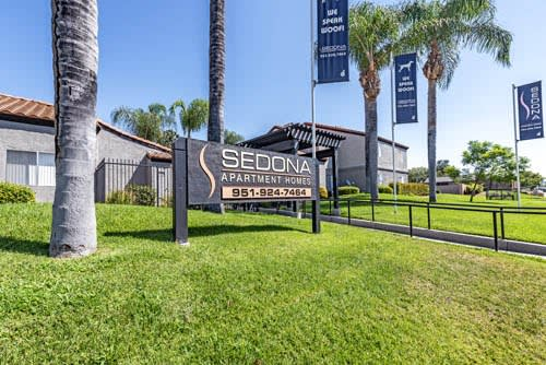 Exterior sign at Sedona Apartment Homes in Moreno Valley, CA