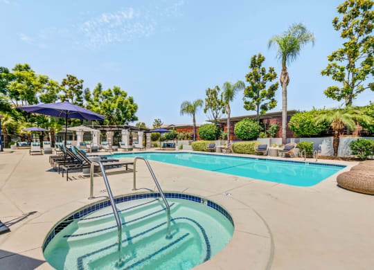 Resort Style Pool and Sun Deck at The Hills at Quail Run in Riverside, California