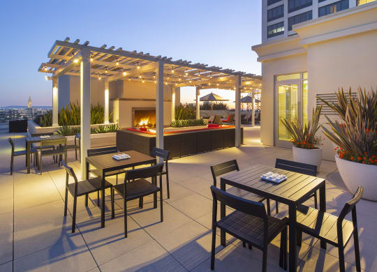 Westwood Luxury Apartments Wilshire Victoria Rooftop Resident Lounge Couch Fireplace evening dusk3