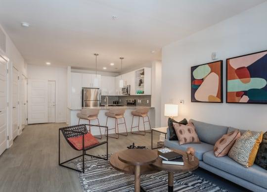 Living room interior at Link Apartments® Linden, Chapel Hill