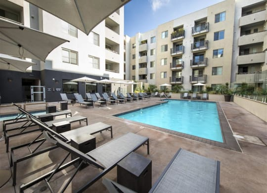 Swimming Pool With Relaxing Sundecks at 1724 Highland, Los Angeles, CA