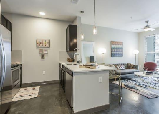 Large Center Island Kitchen at Azure Houston Apartments, Texas