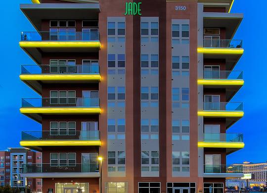 Illuminating lights on the exterior building of Jade, in Las Vegas, NV