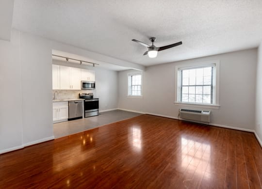 gorgeous hardwood floor in living room leading to kitchen at Connecticut Plaza Apartments, 2901 Connecticut Ave NW, Washington, DC, 20008