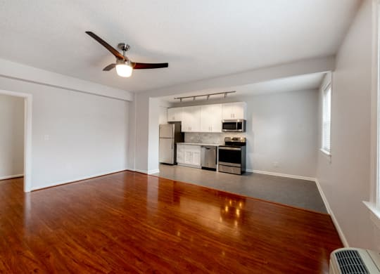Beautiful living room and ceiling fan at Connecticut Plaza Apartments, 2901 Connecticut Ave NW, Washington, DC