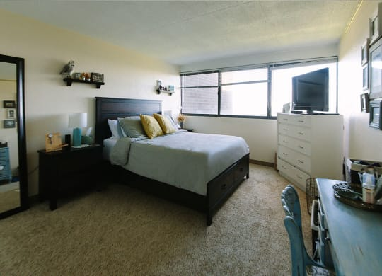 Beautiful Bright Bedroom with Desk at Walnut Towers at Frick Park, Pittsburgh