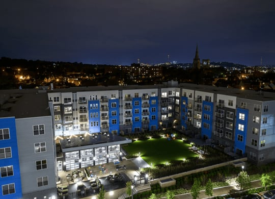 Bakery Living Blue Exterior, apartments in Shadyside Pittsburgh, PA, 15206