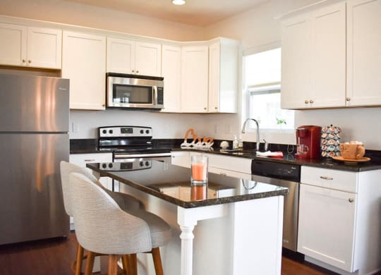 Contemporary Kitchen at Highland Village Townhomes in Ross Township, Pittsburgh, PA, 15229