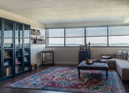 Living Room with a View at Walnut Towers at Frick Park, Pittsburgh PA