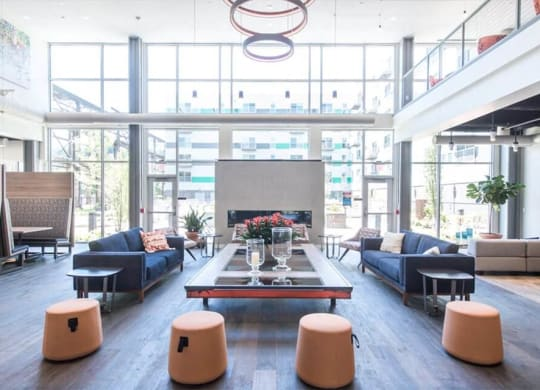 Beautiful Bright Lobby and Lounge at The Foundry at 41st New Apartments, Lawrenceville Pittsburgh