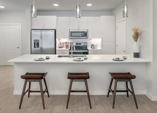 Stunning kitchens feature quartz countertops and subway tile backsplash at Windsor South Congress, Austin, 78745