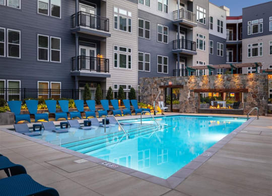 Swimming Pool with Lounge Seating at Cameron Square, Alexandria