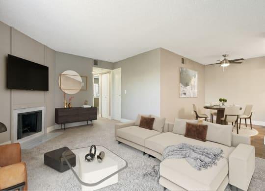 Model living room showcasing spacious rooms.