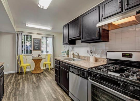 Model kitchen with stainless appliances