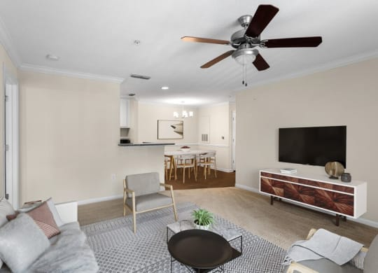 Model living room with ceiling fan  Model living room with celling fan